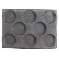 Non stick Perforated Baking Mat for 4 inch Buns, 8 Molds 8 Cavities Silform Style Silicone Bun Pan