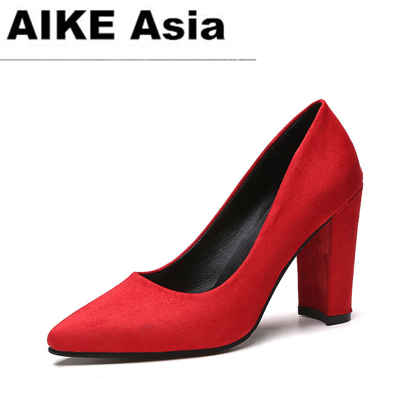 2018 Women Pumps Ankle Strap Thick Heel Women Shoes Square Toe Mid Heels Dress Work Pumps Comfortable Ladies Shoes 9CM /6CM famiao 2018 women pumps ankle strap thick heel women shoes square toe mid heels dress work pumps comfortable ladies shoes