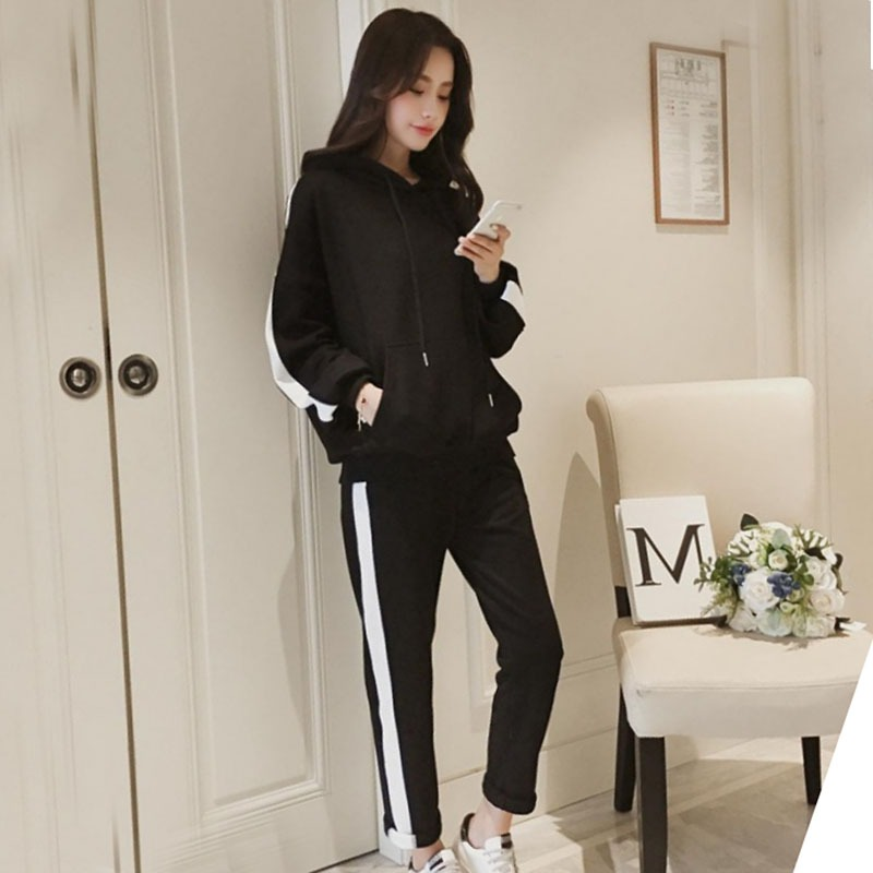 Women Long Sleeve Hooded Sweatshirts Tracksuit Casual Suit Women Tops+Pants 2 Piece Set H
