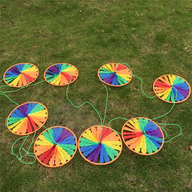 New Rainbow Wheel Windmill Wind Spinner Whirligig Garden Funny Children Toys