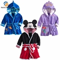 2016 Winter Baby Bathrobe Hooded Kids Bathrobe Robe Minnie For Kids Girl Boys Cartoon Pajamas New Arrival