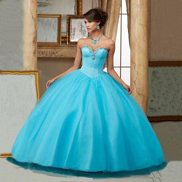 b7690137da1 Girls Sweetheart Birthday Ball Gowns Formal Puffy Dress for 15 Years Cheap  Scuba Blue Quinceanera Dresses