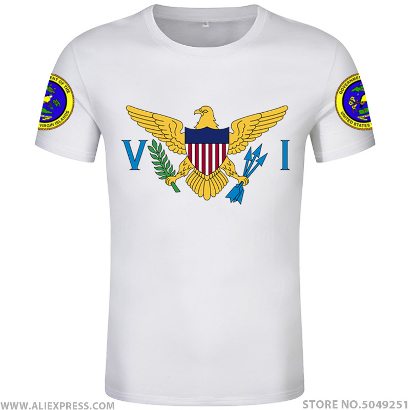 VIRGIN ISLAND t shirt diy free custom made name number vir t-shirt nation flag vi US america country college print photo clothes image