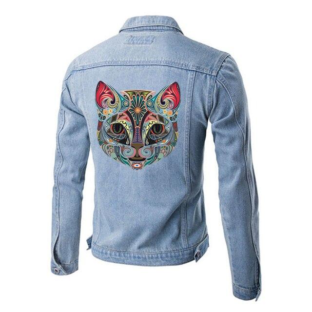 핑크 귀와 철 전송 고양이 티셔츠에 빨 수있는 인쇄 diy 액세서리 의류 장식 스티커 패치 23x24 cm