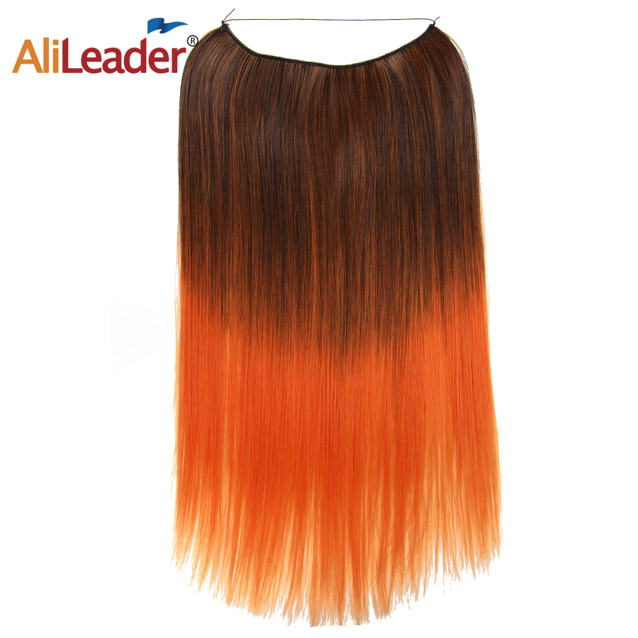 Alileader 22 inches Clip on Wire Fish Line Hair Extensions Secret Invisible Wire One Piece for Ombre Hair Synthetic Hairpiece