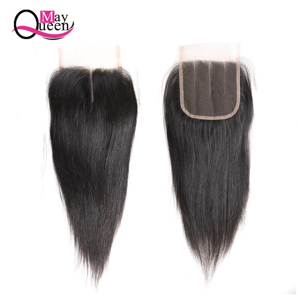 May Queen Hair Brazilian Human Hair Closure 4X4 Free Middle Three Part Lace Closure 8