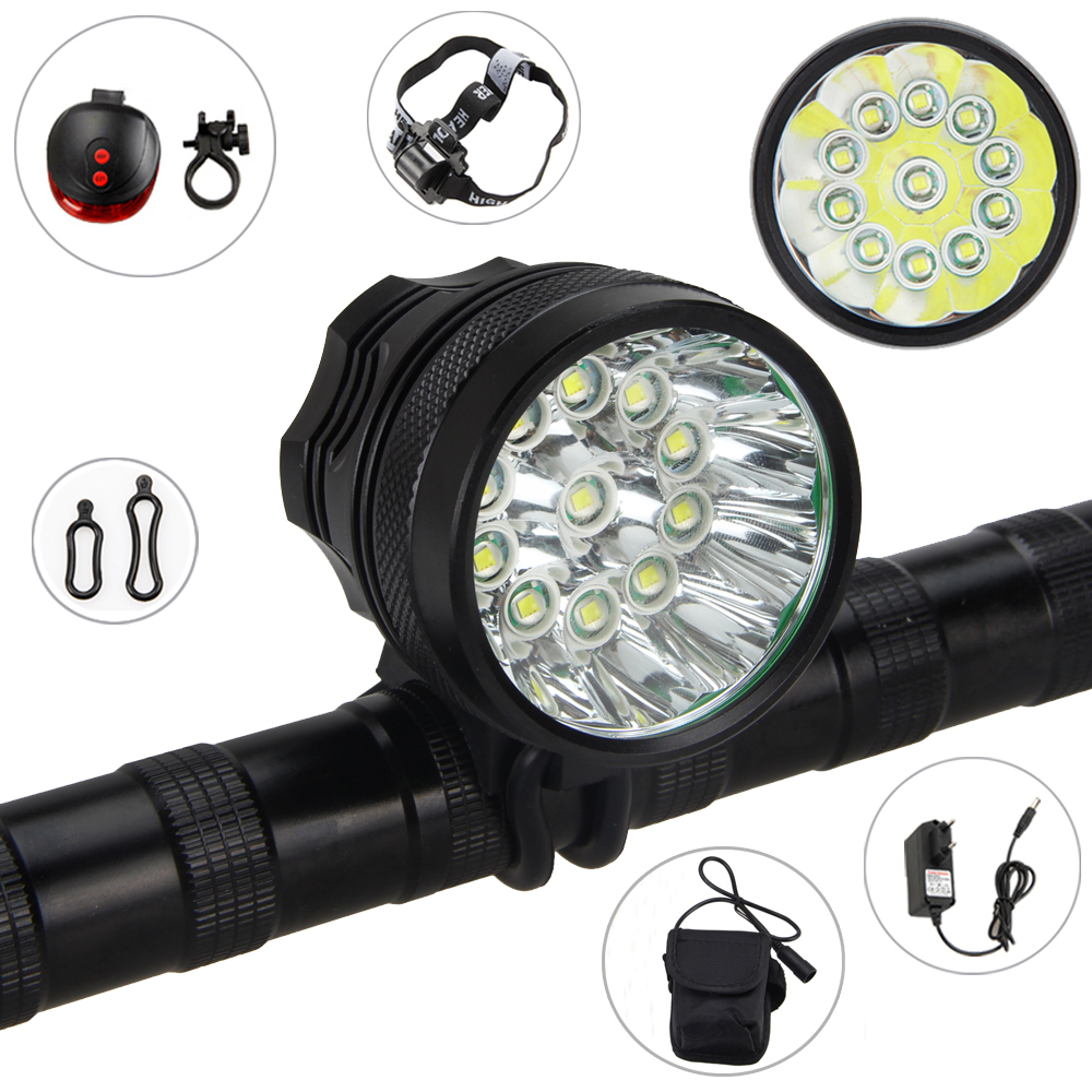 Super Bright 28000 LM Front Bike Light 11x XM-L T6 Cycling Light Headlamp+Headband+18650 Battery Pack+Laser Taillight+AC Charger hot sale 3x cree xml t6 led headlamp bike light 5000 lumen 18650 led head light 4x18650 battery pack charger bike rear light