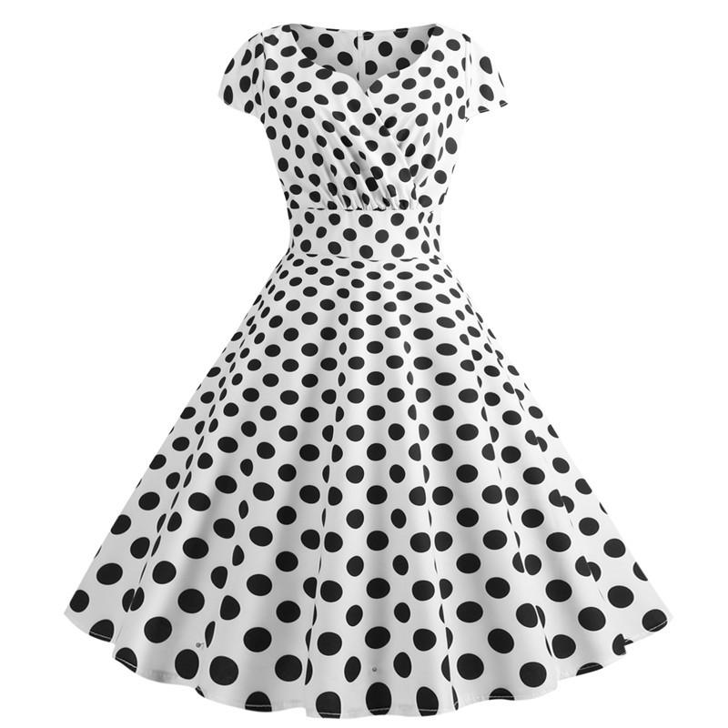 Summer White Polka Dot Dress Women V Neck Short Sleeve Elegant Party Dress  Plus Size 50s 60s Swing Vintage Rockabilly Vestidos Black Sundresses Cute  ...