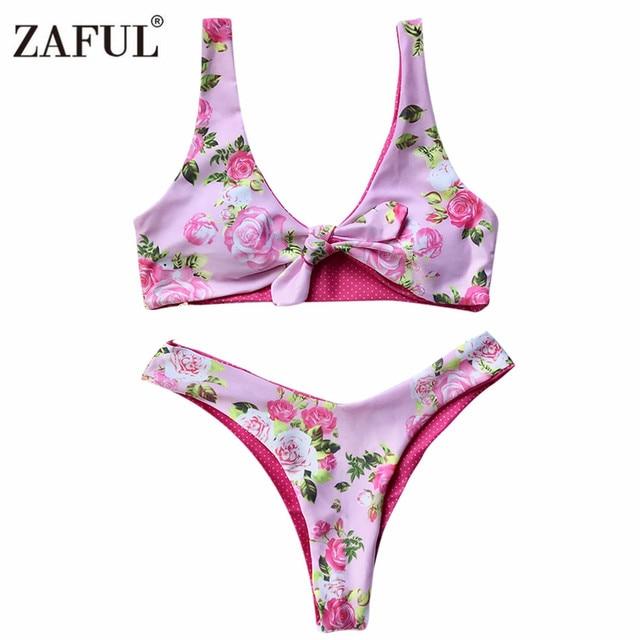 a104a5d1ac Zaful Swimwear Reversible 2017 Sexy Thong Bikini Set Print Beach Swimwear  Women Floral Polyester Front Knot