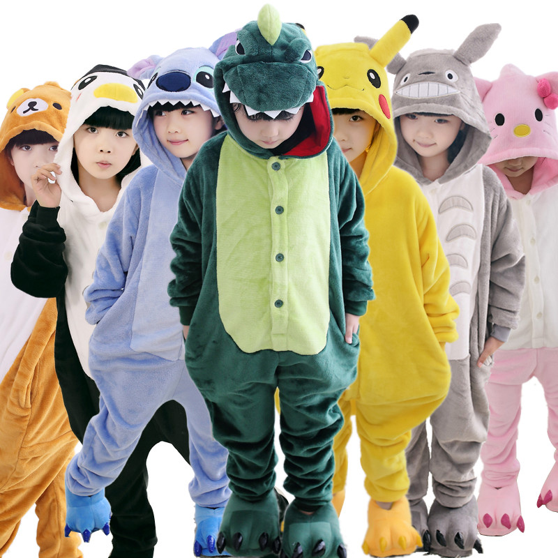 Baby Boys Girls Pajamas Autumn Winter Children Flannel Warm animal penguin Stitch panda Onesie Sleepwear totoro
