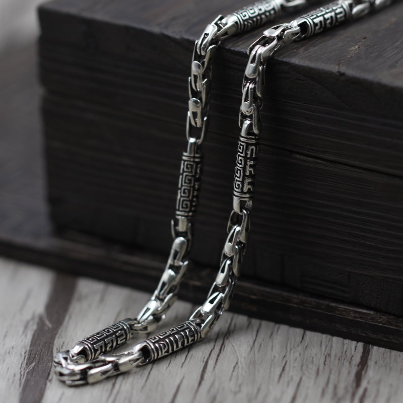Thai silver jewelry making men rough old words six Vintage Chain Necklace 925 sterling silver jewelry gagafeel vintage chain 925 sterling silver six mantra words necklaces for men handmade chain link female male silver drop ship