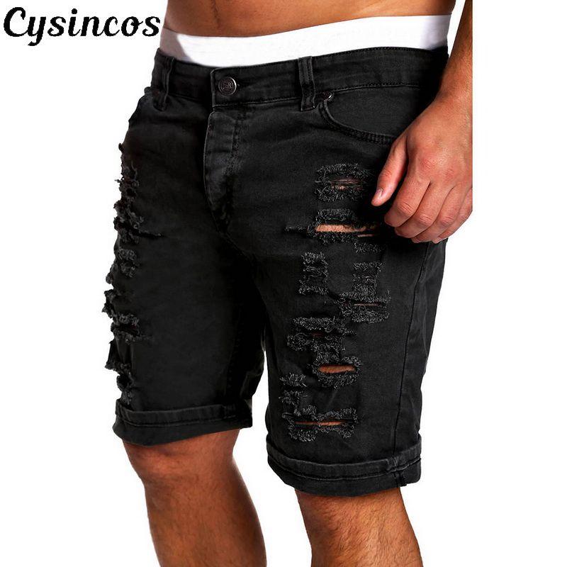 CYSINCOS   2019 New Men's Regular- Denim Short Jean Pants Summer Casual Hole Zipper  Mid Waist Shorts Men's Solid Jean Shorts