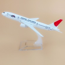 Alloy Metal Air JAL Japan Airlines B777 Airplane Model JAL Boeing 777 Airways Plane Model Stand Aircraft Kids Gifts 16cm