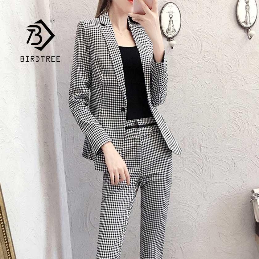 2019 New Women's Pliad Pant Suit Notched Slim Blazer Jacket High Waist Pants Female Office Lady OL 2 Pieces Set Hot Sale S96202Z