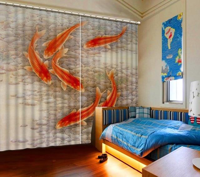 Modernen Chinesischen Vorhänge Foto Malerei Rote Fische Küche Vorhänge  Blackout 3D Vorhang Für Wohnzimmer Schlafzimmer Weiche