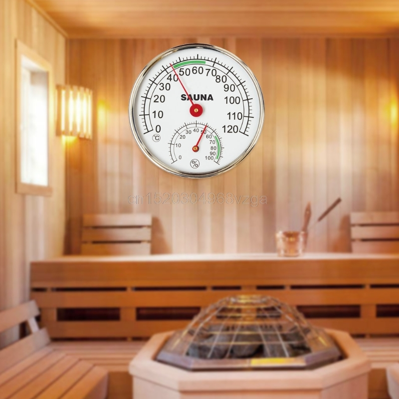 Stainless Steel Thermometer Hygrometer for Sauna Room Temperature Humidity Meter #20/F17 free shipping high quality sauna accessory cartoon design sauna equipment thermometer hygrometer