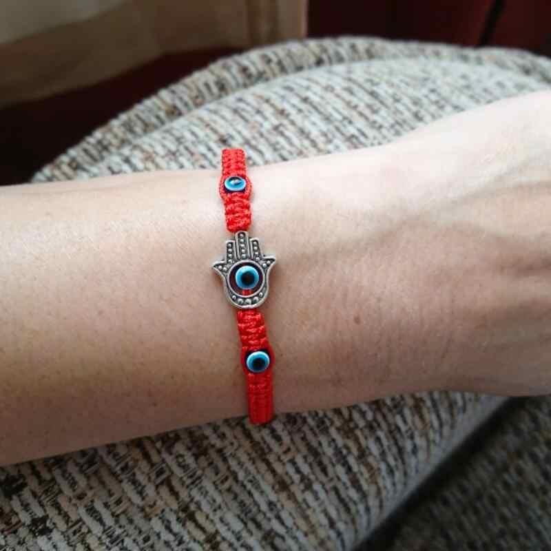 Słodki miś marka starożytny srebrny Fatima ręce kobiety bransoletka Tassel makrama pleciona bransoletka turcja, niebieski przepaska na oko biżuteria