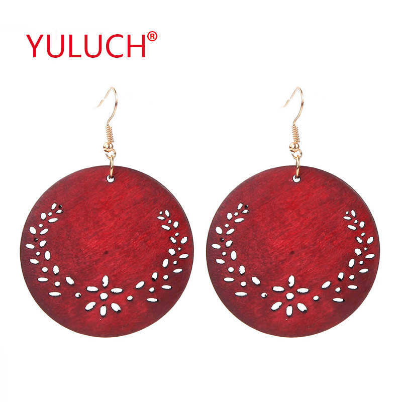 YULUCH Beautiful hollow out wreath wooden round pendant earrings for African fashion women jewelry pop earrings gifts