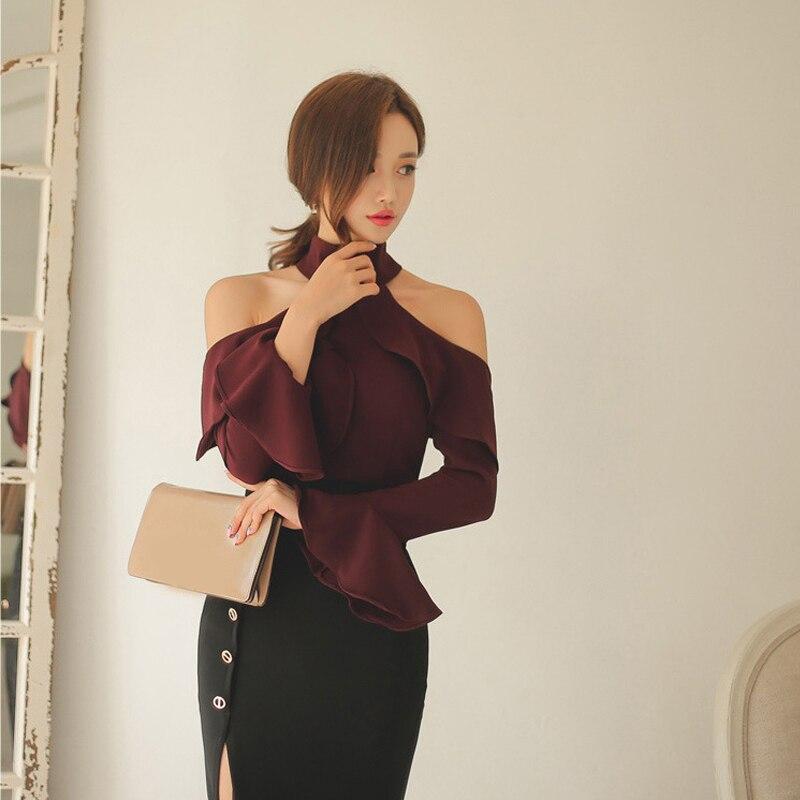 Chemise à manches longues femmes licou cou hors épaule hauts femme moulante mandarine manches basique solide t-shirts