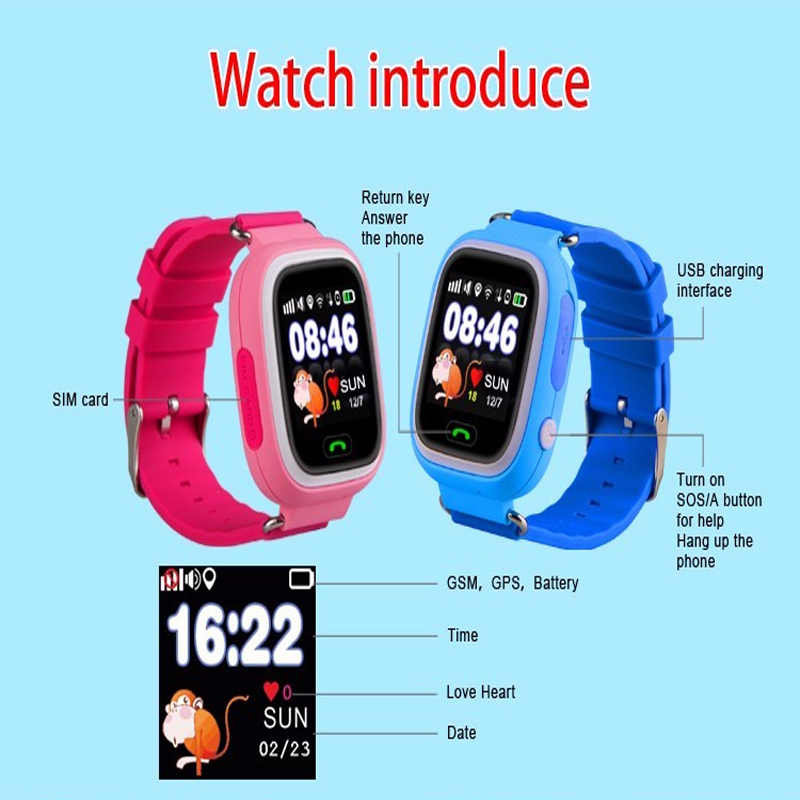 New products baby gift android gps tracker and mobile cell phone kids security voice speaker q90 smart watch