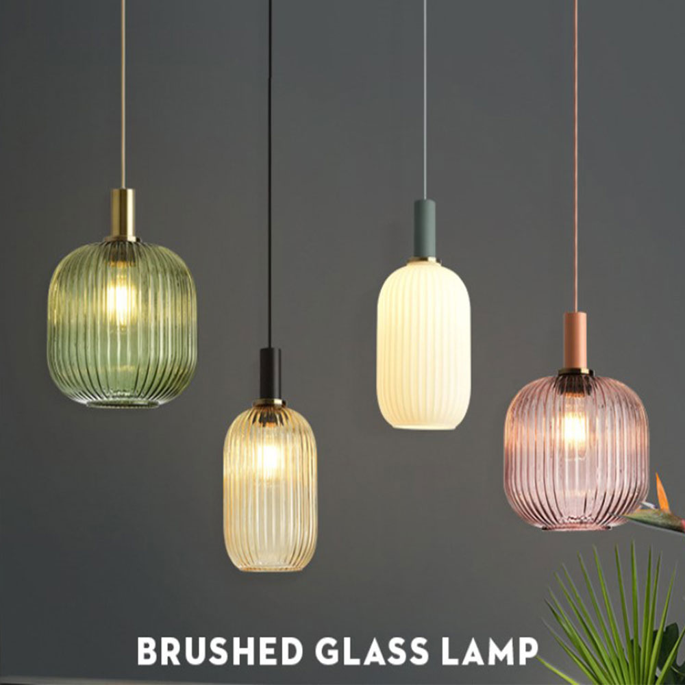Nordic Retro Restaurant Colorfull Glass Pendant Lights Creative Living Room Lamp Simple Bedside Lamp LED E27 Light