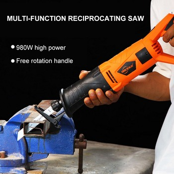 980W Reciprocating Saw for Wood Cutting Metal Electric Cutting Electric Saw Blade with attachment 7 Saw Blades Wood Cutter
