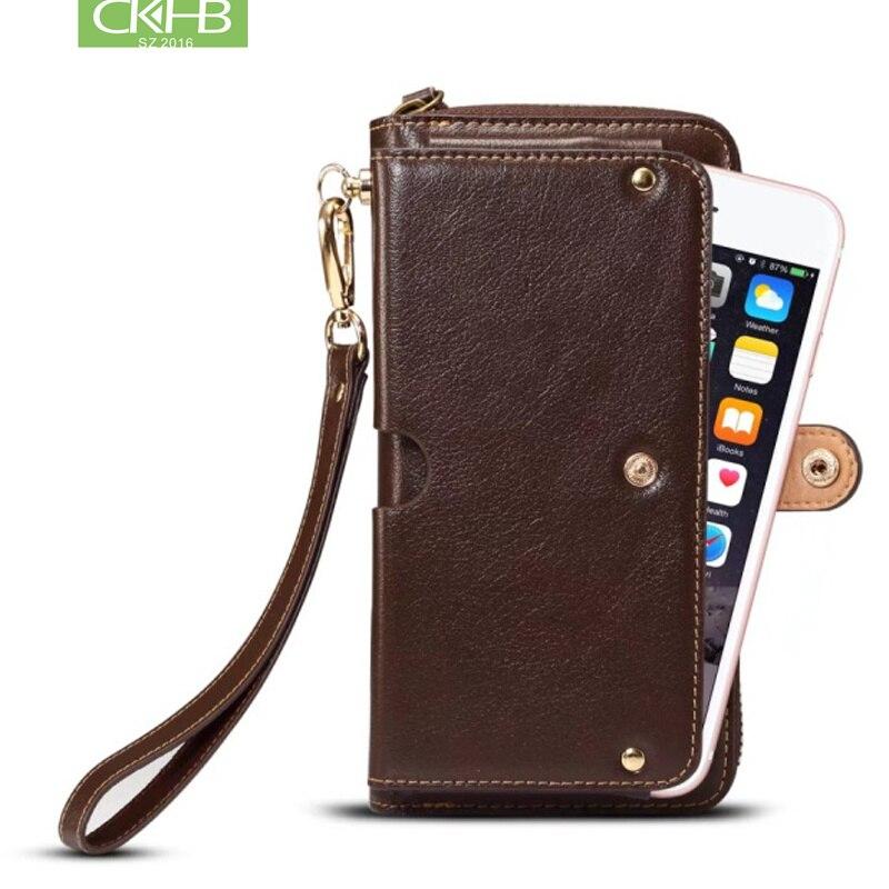 Из натуральной нешлифованной кожи универсальный Mltifunction кожаный чехол-бумажник с карманами для телефона для iphone XS Max 7 8 плюс Настоящее кожан...