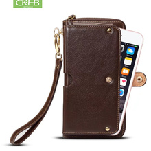 Full Grain Leather Universal Mltifunction Leather Wallet Pouch Phone Bag For iphone XS Max 7 8 Plus Real leather Case 1-6.5 inch