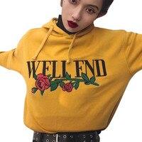 Harajuku Letter Hoodie Rose Emboridery Print 2017 Autumn Pullovers Kawaii Sweatshirt Sudaderas Mujer Long Sleeve Hooded