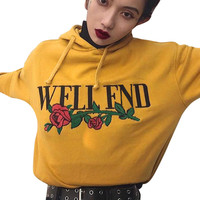Harajuku Letter Hoodie Rose Emboridery Print 2017 Autumn Pullovers Kawaii Sweatshirt Sudaderas Mujer Long Sleeve Hooded