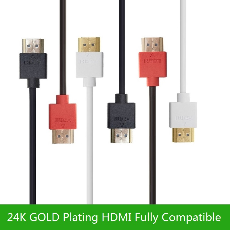 High Speed HDMI Cable - Ultra HD 4k x 2k  Slim HDMI Cable with Ethernet HD TV's HDMI 1.4 Cable - Audio/Video Gold-Plated ultra slim profile white hdmi cable 1m 2m 3m 5m 10m high speed with ethernet supports hdmi version 1 4 1 4a 1 3 compatible