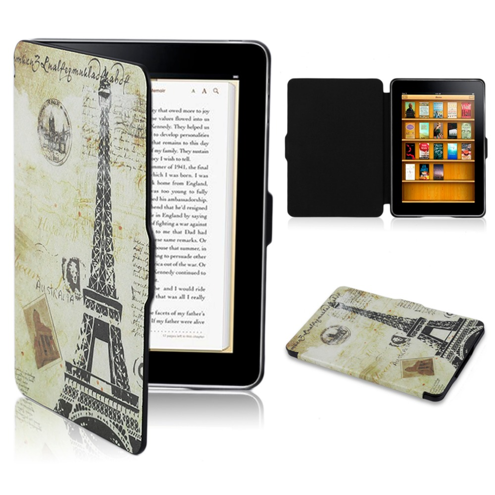 Colored Drawing Pattern Ultra Thin Protect PU Leather Case For Kindle Paper white Fashion Design Bracket Drop Shipping