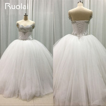 Gorgeous Real Picture Sweetheart Off the Shoulder Ball Gown Crystal 2016 Wedding Dresses Tulle Bridal Dress for Wedding FW18
