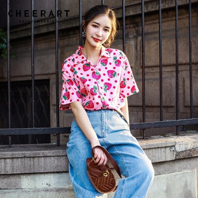 b0345b3fef5c Cheerart Strawberry Print Pink Blouse Summer Shirt Women 2018 Loose Cute  Ladies Top Korean Clothing