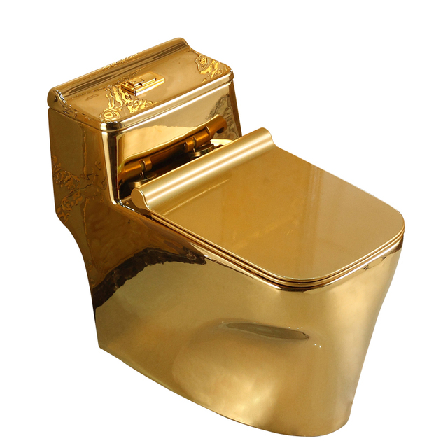 gold toilet. 305mm pit spacing gold Submarine type toilet water bathroom one  piece ceramic closestool spiral