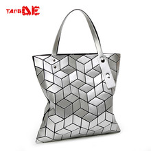 JAPANESE Geometry Quilted CASUAL DIAMOND LATTICE SOLID COLOR FOLDED WOMEN'S ROUTINE LASER TOTE BAG BAOBAO 33*33CM