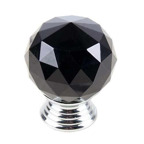 5 x 30MM Crystal Glass Round Door Knob Cabinet Drawer Wardrobe Pull Handle Black hotsale pack of 10 30mm crystal glass clear cabinet knob drawer pull handle kitchen door wardrobe hardware