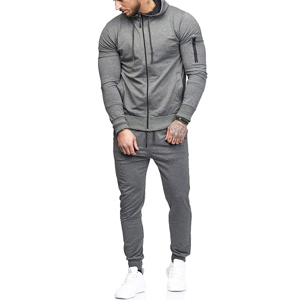 HTB1TAiNKrSYBuNjSspfq6AZCpXa4 2019 fashion Patchwork Zipper Sweatshirt Top Pants Sets Sports Suit solid color slim Tracksuit High Quality Pullover clothing