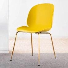Скандинавский чистый красный стул современный минималистский свет роскошный позолоченный стул спинка Ресторан домашний корпус обеденный стул