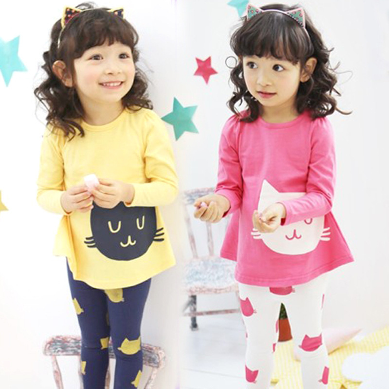 Spring Autumn Girls Clothes Set Children Long Sleeve T-shirt O-Neck Tops+pant Cartoon Cat Clothes Fashion Clothing Sets For Kids