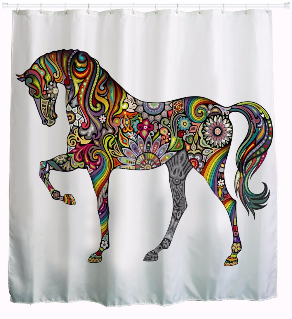 3d color cheval tanche salle de bains rideaux de douche tissu polyester rideaux de bain de - Rideau De Douche Color