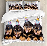 Duvet Cover Set , Rottweiler Puppies with Party Cone Hats Cute Puppies Dogs Art Print, 4 Piece Bedding Set