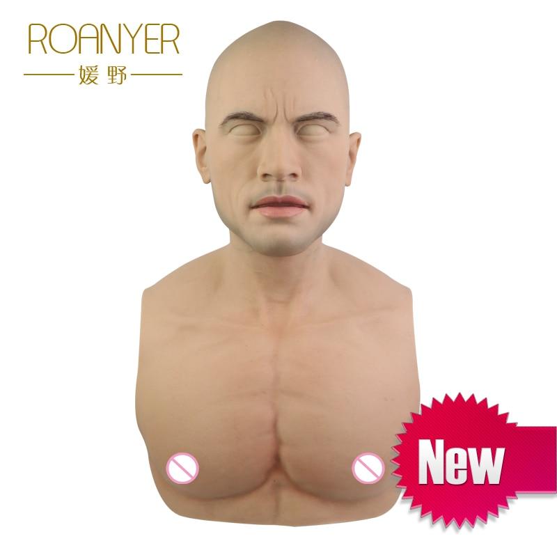 Realmaskmaster halloween artificiale realistico del silicone maschera travestito maschile in lattice per adulti cosplay full face maschera per il partito