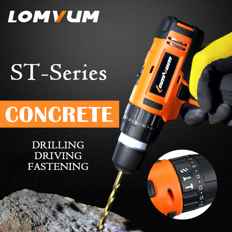 LOMVUM 12/16/24V Power Drill Tool Electric Drill IMPACT cordless drills 2 Lithium-Ion Battery screw rotary tool DRILLING DRIVING electric bicycle case 36v lithium ion battery box 36v e bike battery case used for 36v 8a 10a 12a li ion battery pack