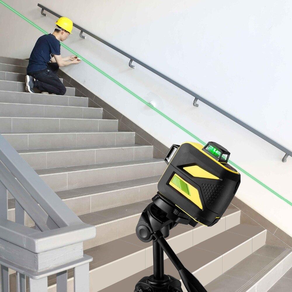 FIRECORE F93T-XG 12 Lignes 3D Vert Laser Niveau LR6/batterie au lithium Auto-Nivellement Horizontal et Vertical Croix Lignes Peut utiliser Le Récepteur - 5
