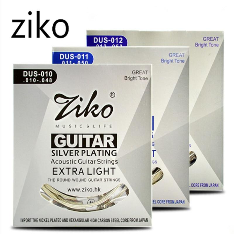 Набор струн для акустической гитары Ziko 010 011 012, с серебристым покрытием, 6 струн на запчасти для акустической гитары, музыкальные инструменты