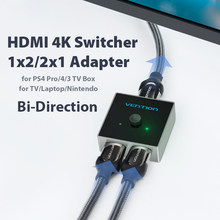 Vention hdmi switch bi-direção 2.0 hdmi divisor 1x2/2x1 adaptador 2 em 1 para fora conversor para ps4 pro/4/3 caixa de tv hdmi 4 k switcher(China)