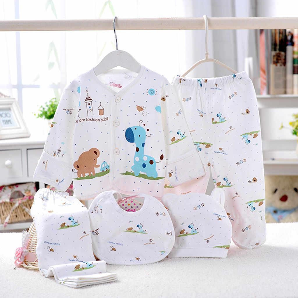Sagace Pasgeboren Sets Jongen 0-3 Maanden Kleding 5 Stuks Jongen Meisje Cartoon Lange Mouwen Tops + Hoed + broek + Bib Nachtkleding Pasgeboren Sets Kleding