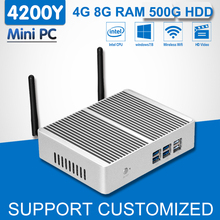 Fanless Core i5 4200Y Mini PC 4G RAM 500G HDD Office Computer Tablet Win 10 Linux OS WIFI Desktop Computador HTPC Box TV Player