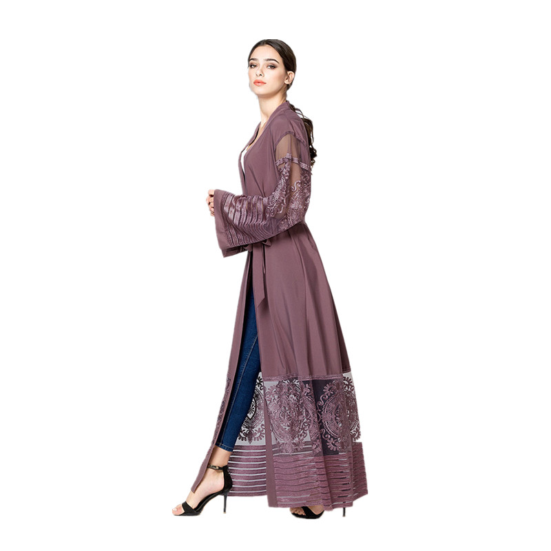 Women's Muslim Dubai Loose Caftan Black Purple Embroidery Abaya Arab Women Fashion Dress Arabic Turkish Kaftan Female Clothing